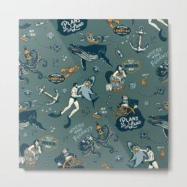Vintage Ocean Pattern Metal Print