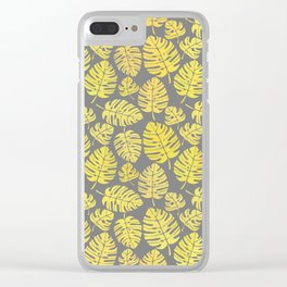 Leaves in Yellow and Grey Pattern Clear iPhone Case