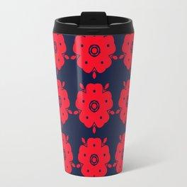 Japanese Samurai flower red pattern Travel Mug