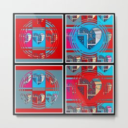 heart panel (red and aqua #2) Metal Print