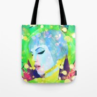 hayley williams Tote Bags featuring Digital Painting - Hayley Williams - Variation 2 by EmmaNixon92