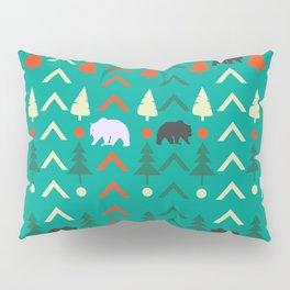 Winter bear pattern in green Pillow Sham