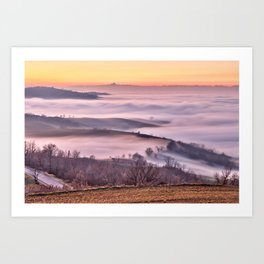 Colli tortonesi nella nebbia Art Print