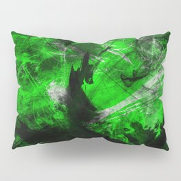 Emerald Blast - Abstract Black And Green Painting Pillow Sham