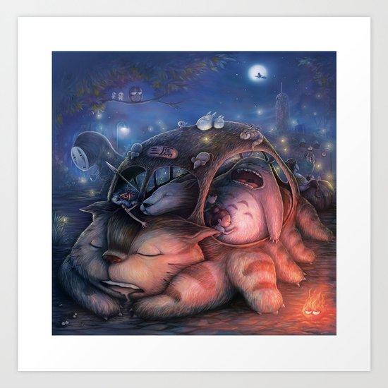 Ghibli Sleepover Art Print