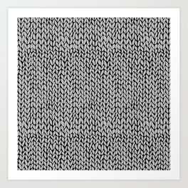 Hand Knit Grey Black Art Print