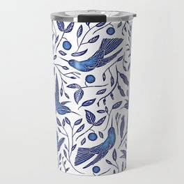 Delft Blue Humming Birds & Leaves Pattern Travel Mug