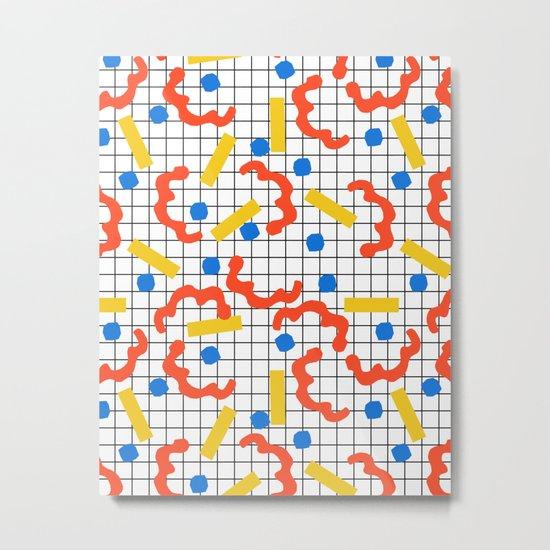 Primal - memphis throwback squiggle circle geometric grid lines dots trendy hipster 80s retro cool Metal Print