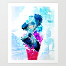 Mega Man WaterPixel (created initially for Storm Unity's Mega Man Marathon) Art Print