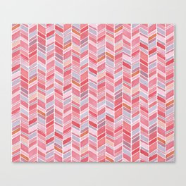 Pink Chevron Watercolour Pattern Canvas Print