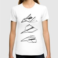 planes T-shirts featuring Paper Planes by Katy Shorttle