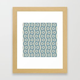 Mid Century Modern Rising Bubbles Pattern 2 Blue and Cream Framed Art Print