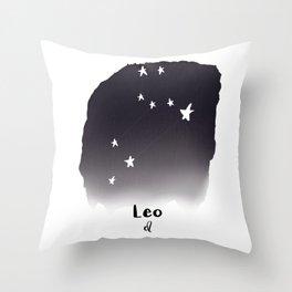 Leo Star sign, Constellation, Astrology, Horoscope, Zodiac Grey Watercolor Throw Pillow