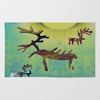 reindeer Area & Throw Rugs featuring reindeer by donphil
