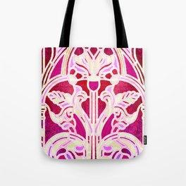 Pink Purple and Red Art Nouveau Batik Pattern Tote Bag
