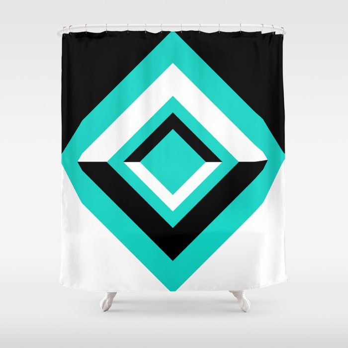 Teal Black and White Diamond Shapes Digital Illustration - Artwork Shower Curtain