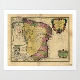 Le Bresil (Brazil) by Nicolas de Fer from 1719 Art Print