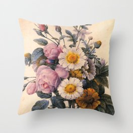 vintage white daisy and pink rose  flowers. P.J. Redoute. Throw Pillow