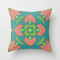 flora Throw Pillows featuring Flora by nandita singh