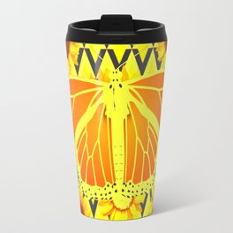 SUNFLOWERS & MONARCH BUTTERFLY BLACK GRAPHIC Travel Mug