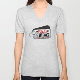 RED Friday For My Son Military Dog Tag Unisex V-Neck