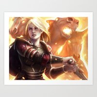middle earth Art Prints featuring Female Guardian of Middle Earth by Tom Lee