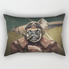 Pete the Pilot Pug Rectangular Pillow