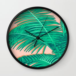 Palm trees on pink Wall Clock