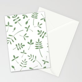 Green Leaves Design on White Stationery Cards