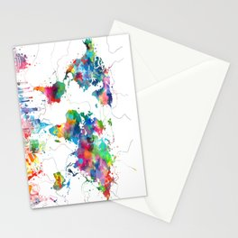 world map watercolor collage Stationery Cards