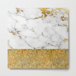 Luxury and glamorous gold glitter and white and gold marble Metal Print