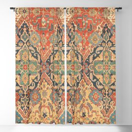 Geometric Leaves VIII // 18th Century Distressed Red Blue Green Colorful Ornate Accent Rug Pattern Blackout Curtain