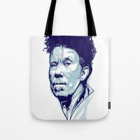 tom waits Tote Bags featuring Tom Waits Portrait by Brian Yap