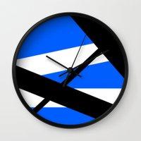 bands Wall Clocks featuring Bands 1 Retro stripes by Brian Raggatt