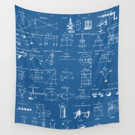 Table Of Engineering And Mechanics Blueprint Artwork Wall Tapestry