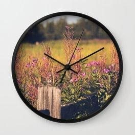 Fall Fireweed at Creamers Field, Fairbanks Alaska Wall Clock