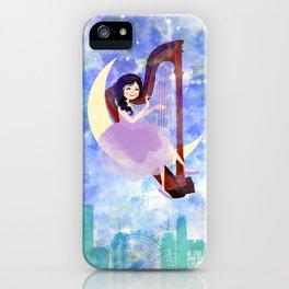Harp girl 2: Music at night iPhone Case