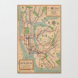 New York City Metro Subway System Map 1954 Canvas Print