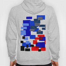 Modern Mid Century Abstract Geometric Cube Square Acrylic Painting Blue With Red Accents Hoody