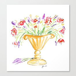 Whimsical flowers in an urn Canvas Print
