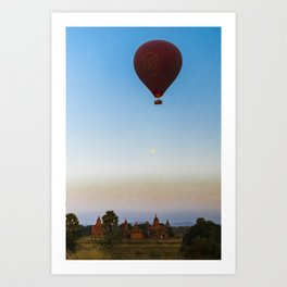 Hot Air Balloon Bagan   Myanmar, Bagan, Burma, Asia   travel photography nature   Green Printable photo art of Myanmar, Asia   Art Print