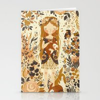 chris brown Stationery Cards featuring The Queen of Pentacles by Teagan White