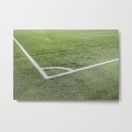 Corner football field, Corner chalk mark artificial grass soccer field Metal Print
