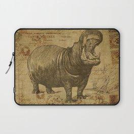 Vintage retro Hippo wildlife animal africa Laptop Sleeve