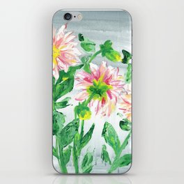 Dahlias on a cloudy day iPhone Skin