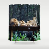 lions Shower Curtains featuring Lions by Georgia