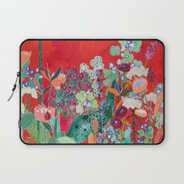 Red floral Jungle Garden Botanical featuring Proteas, Reeds, Eucalyptus, Ferns and Birds of Paradise Laptop Sleeve