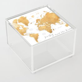 For God so loved the world, world map in gold Acrylic Box