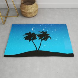 Palm Tree Silhouette Against Evening Blue with Stars Rug