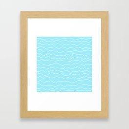 Turquoise with White Squiggly Lines Framed Art Print